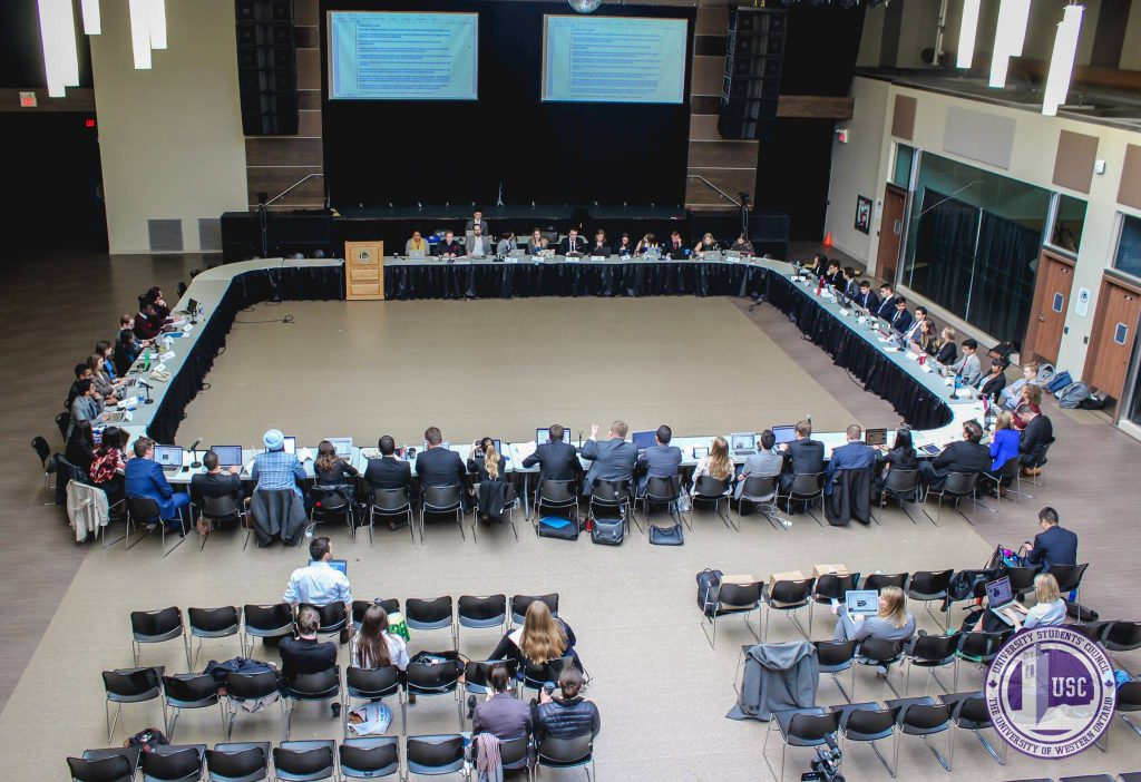 Student delegates from several Ontarian universities attend the general assembly at Western University. Photo courtesy Emily Ross