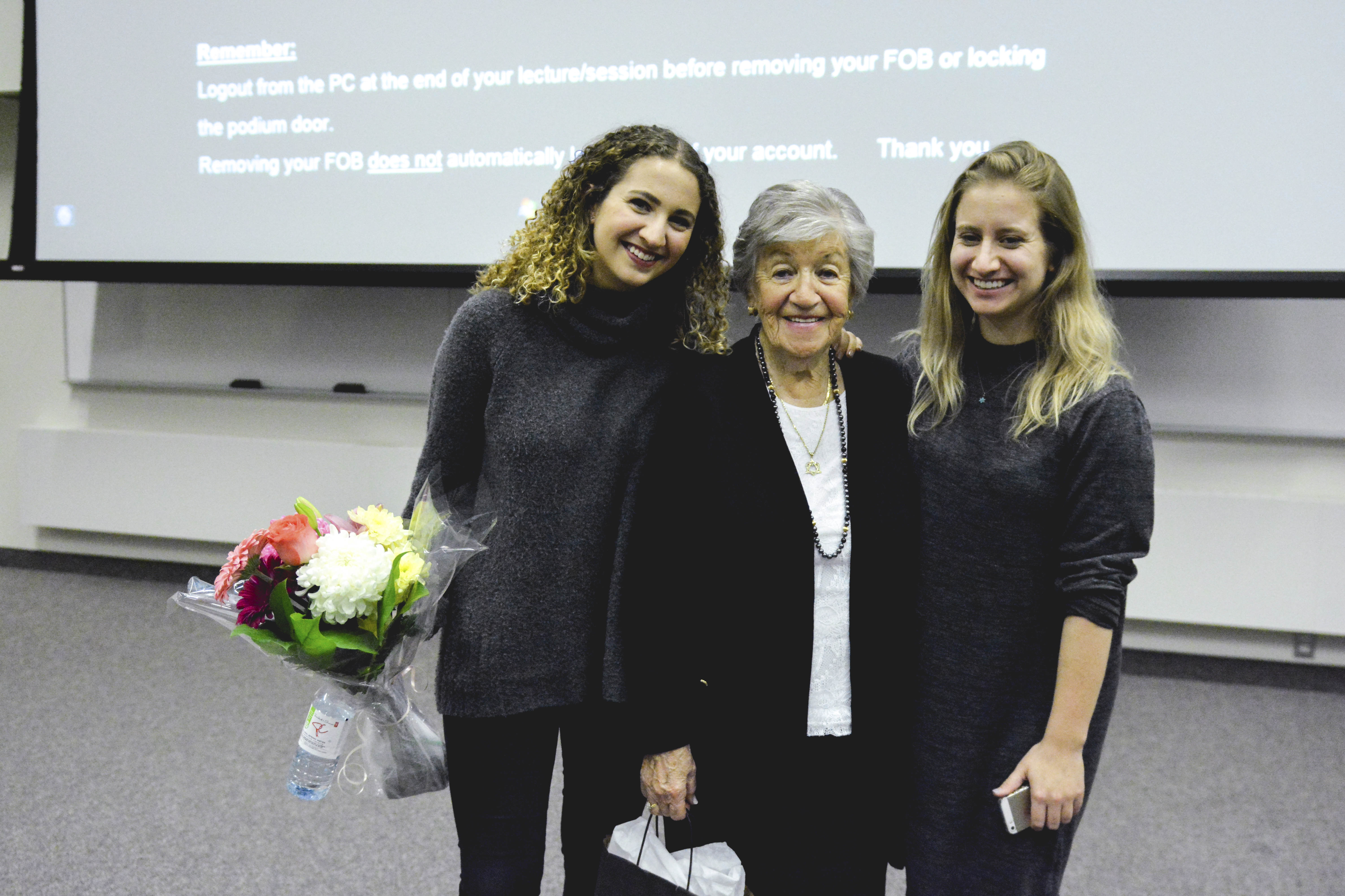Holocaust survivor Paula Goldhar (middle) with her granddaughters Dayna Goldhar (left) and Eli Goldhar (right). Photo by Ju Hyun Kim