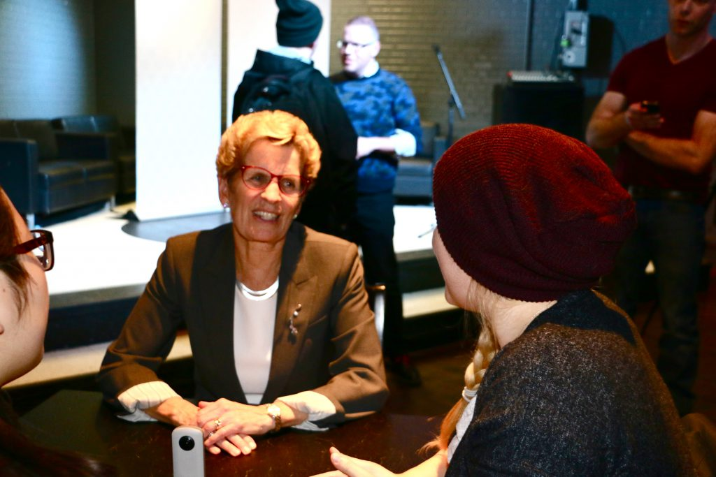 Premier of Ontario Kathleen Wynne speaking to students at UW's Bombshelter Pub during pub night. Photo by Ramona Leitao
