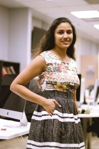 Co-founder Visha Vijayanand models clothing items from Poche Posh. Photo by Theresa Shim