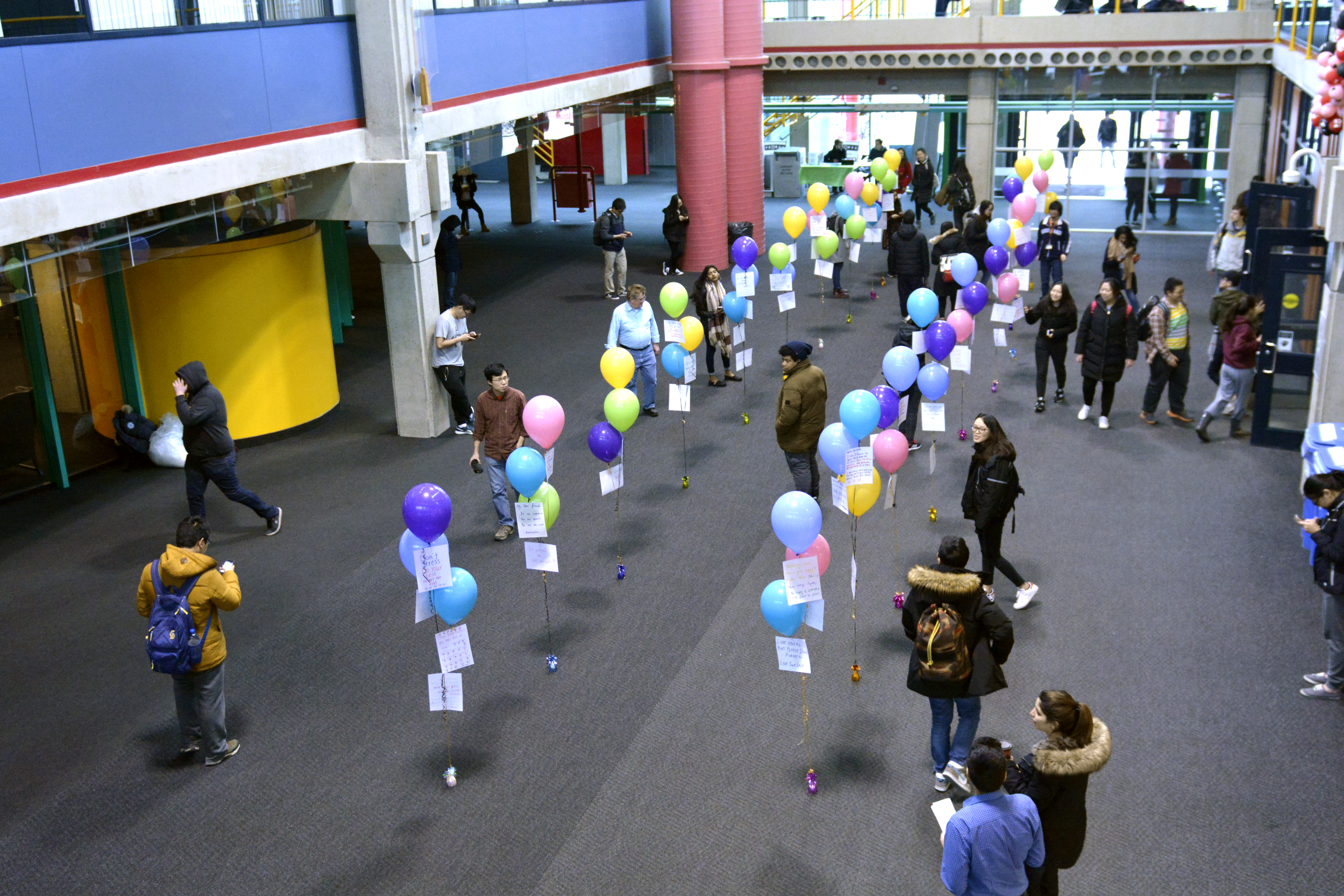 Balloons popped up in the Davis Centre March 31