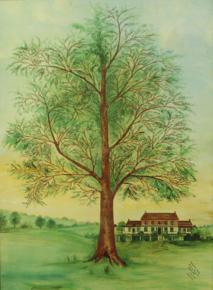 A painting of a tree with a house in the background.